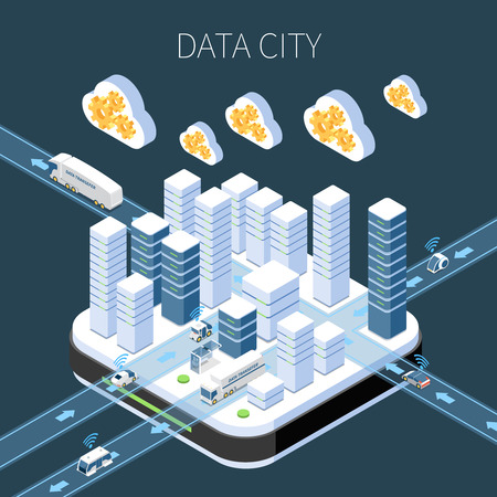 Data city isometric composition with cloud services server infrastructure and information transfer on dark background vector illustration