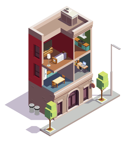 Townhouse buildings isometric composition with profile view of urban dwelling house with separate rooms and furniture vector illustration