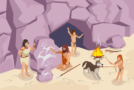 Fondo isométrico de la gente de la edad de piedra con la ilustración del vector de la gente antigua Ilustración de vector