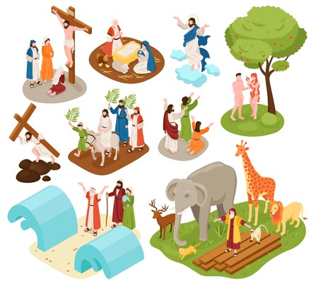 Isometric bible narratives set with ancient christian characters of noah with animals adam eve jesus christ vector illustration Illustration