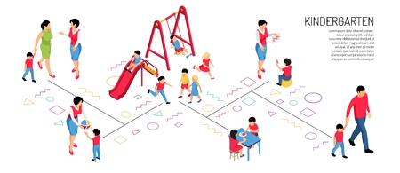 Parents educator and kids in various activity in kindergarten on white background isometric horizontal vector illustration Illustration