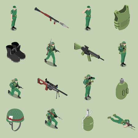 Soldier equipment isometric set of helmet body armor rifles ankle boots soldier jar isolated icons vector illustration