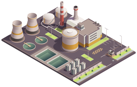 Industrial buildings isometric composition with plant site landmark and factory facilities with pools and parking lot vector illustration