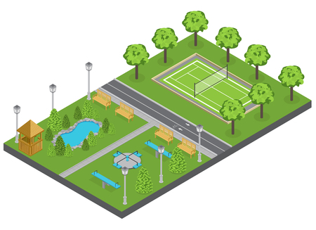 Suburbia park composition with trees pond and sports ground isometric vector illustration Illustration