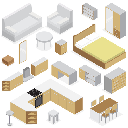 Home furniture isometric set of elements for kitchen bedroom and living room interior isolated vector illustration