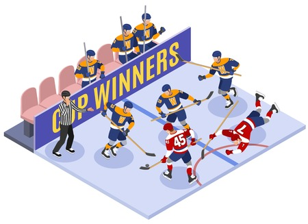 Ice hockey cup winners game moment isometric composition with rule violation referee assessing penalty vector illustration Illustration