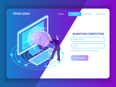 Landing page mockup for deep learning of information  in field of artificial intelligence and quantum computing isometric vector illustration Stock Vector - 117893948