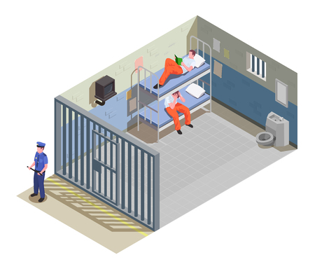 Locked jail cell for two inmates with prisoners in uniform and security guard isometric composition vector illustration