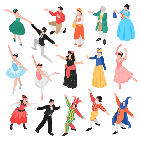 Isometric opera ballet theatre set with isolated human characters of theatrical actors and dancers in costumes vector illustration