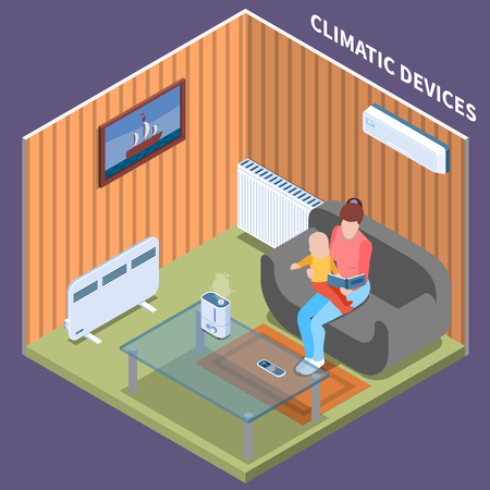 Home climate control isometric background with young woman reading book her baby in  room equipped with air conditioning heating battery and electric heater vector illustration