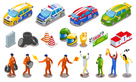 Racing sports icons set with racing team symbols isometric isolated vector illustration