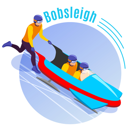 Bobsleigh round background with team of athletes  dispersing bobsled sleigh for downhill isometric vector illustration