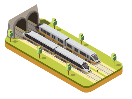 Rail bus and high speed passenger train entering railway tunnel under viaduct bridge isometric composition vector illustration