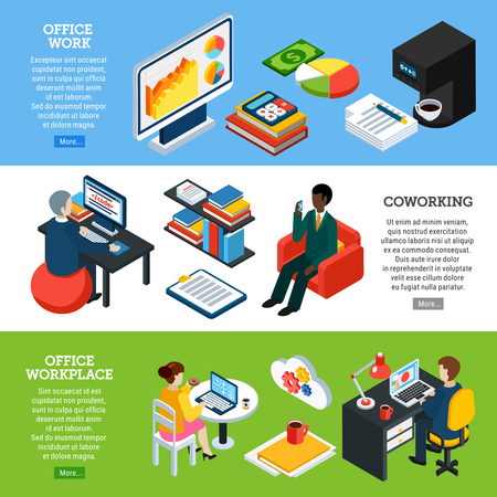 Collection of three horizontal business people isometric banners with images of office appliances and employee characters vector illustration Ilustração