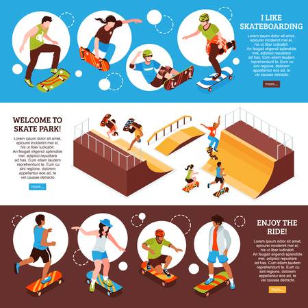 Set of three isometric skateboard banners with editable text information about skateboarding sports activity and images vector illustration