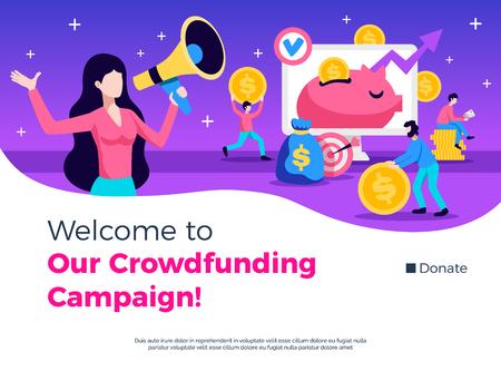 Crowdfunding-Kampagne, Werbeberatung, Promotion-Symbole, flache Banner-Website-Homepage-Design mit Spendenknopf-Vektorillustration Vektorgrafik
