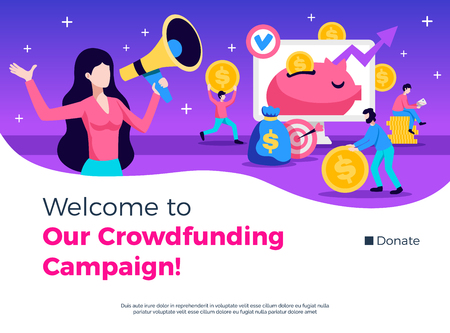 Crowdfunding campaign advertising consulting promotion symbols flat banner website home page design with donate button vector illustration