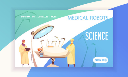 Medical robots landing page with surgeons in operating room equipped with modern devices vector illustration Stock Vector - 117893963