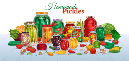Pickles horizontal composition with lots of glass jars with vegetables text and pieces of ripe fruits vector illustration Illustration