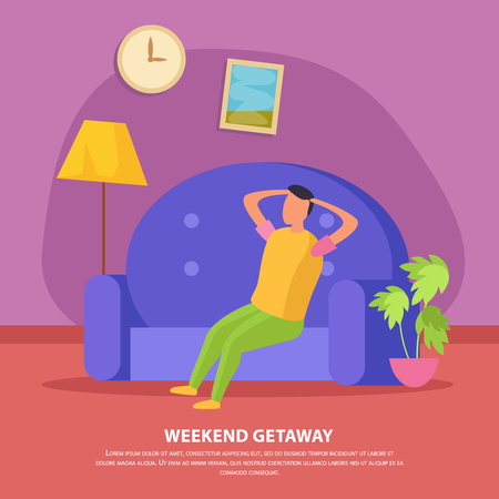 Flat lazy weekends people composition with weekend getaway description and man sit on the couch vector illustration