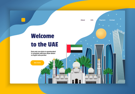 UAE online travel agency website concept banner with flag mosque science fiction style architecture flat vector illustration