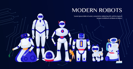 Set of modern robots on dark background with integrated circuit elements vector illustration
