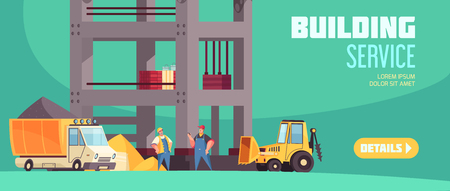 Building service horizontal web banner with truck of concrete tractor with bucket and workers at building construction flat vector illustration