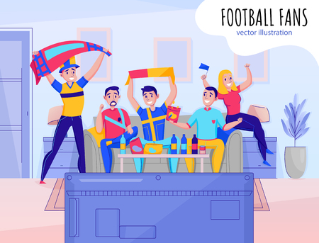 Fans cheering team composition with five people cheering for your favorite sports team vector illustration
