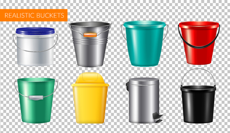Realistic buckets transparent icon set with champagne metal bucket plastic and trash can vector illustration