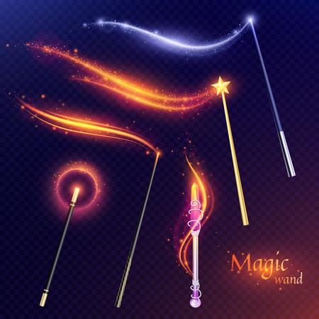 Racconto set di bacchette magiche volanti con effetto di luccichii dorati e argentati su sfondo trasparente illustrazione vettoriale Vettoriali