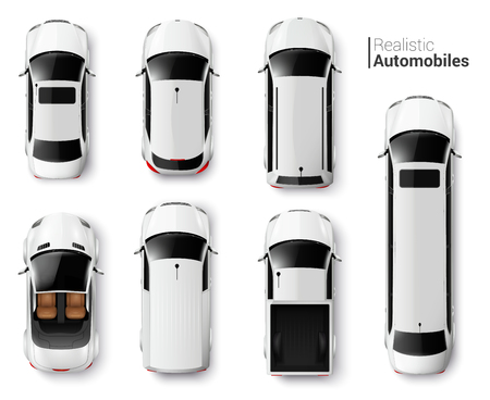 White cars top view realistic set isolated vector illustration Illustration