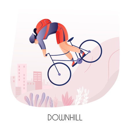 Young man with back pack during cycling ride down hill on city background vector illustration