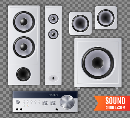 Realistic sound audio system transparent icon set with different shape and size vector illustration Reklamní fotografie - 124818067