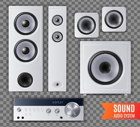 Realistisches Sound-Audiosystem transparentes Icon-Set mit unterschiedlicher Form und Größe Vektor-Illustration