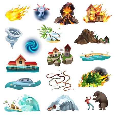 Klęski żywiołowe zagrażająca życiu sytuacja kolorowa kolekcja ikon z tornado pożaru lasu zalewającego jadowite węże ilustracji wektorowych