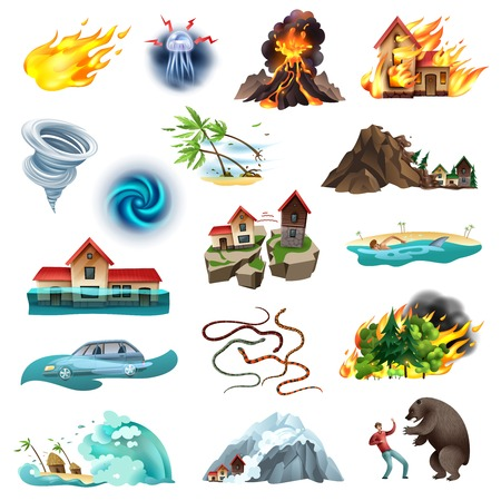 Natural disasters life threatening situation colorful icons collection with tornado forest fire flooding poisonous snakes vector illustration