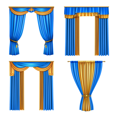 Golden blue long luxury drapes curtains set 4 realistic living room window decorations ideas isolated vector illustration