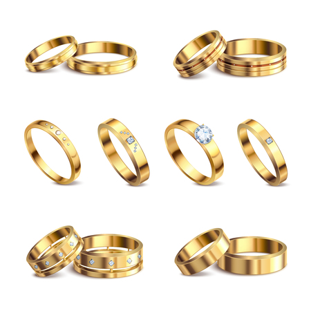 Gold wedding rings 6 realistic isolated sets noble metal with diamonds jewelry against white background vector illustration