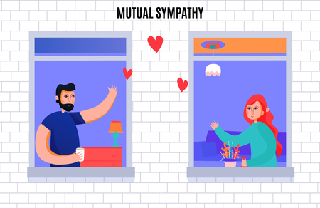 Mutual sympathy between man and woman composition with neighbors waving each other from windows vector illustration