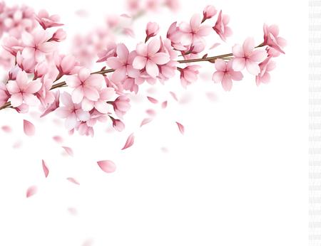 Oddział z pięknymi kwiatami sakura i realistyczną kompozycją opadających płatków na białym tle ilustracji wektorowych