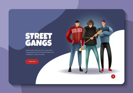 """Sozialkriminalität Jugendstraßenbanden Gewaltkonzept Web-Banner-Design mit mehrfarbiger Vektorillustration der Schaltfläche """"Weiterlesen"""" Vektorgrafik"""