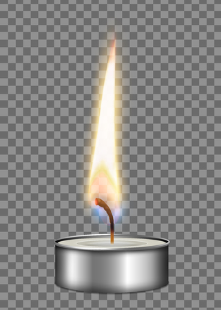 Colored realistic candle metal case flame fire light composition on transparent background vector illustration