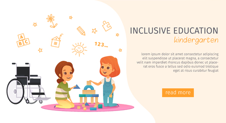 Colored inclusion inclusive education banner with kindergarden description and read more button vector illustration Illustration