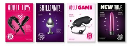 Affiche de jouets sexuels avec légendes publicitaires et accessoires pour illustration vectorielle de jeux pour adultes