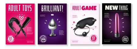 Sex toys poster set with advertising captions and accessories for adult games vector illustration Çizim