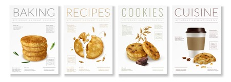 Set of four realistic posters on theme of oat cookies with captions baking recipes cookies and cuisine vector illustration Ilustração
