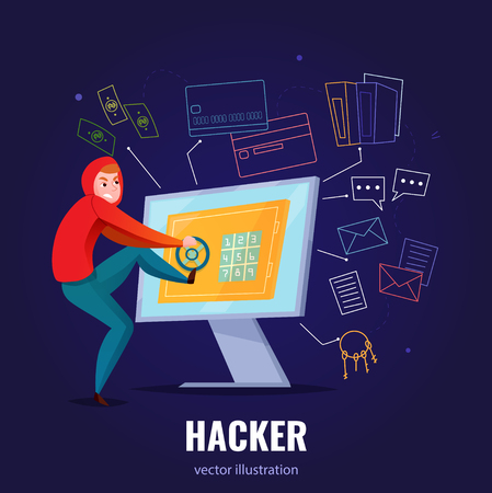 Hacker safe composition with man in hoodie hacks computer and climbs inside vector illustration Illustration