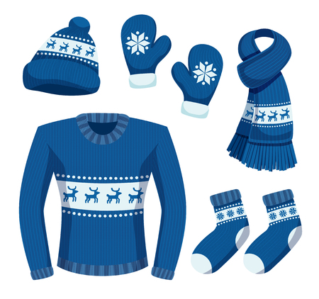 Seasonal winter clothes set with isolated images of stylish warm clothing items with snowflakes and deers vector illustration Illustration