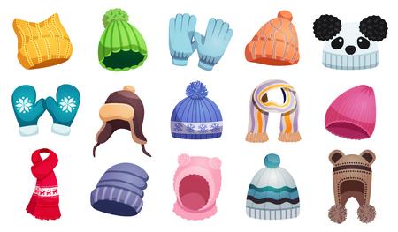 Écharpe d'hiver saisonnière chapeaux enfants sertie de quinze images isolées d'enfants portent sur une illustration vectorielle de fond blanc