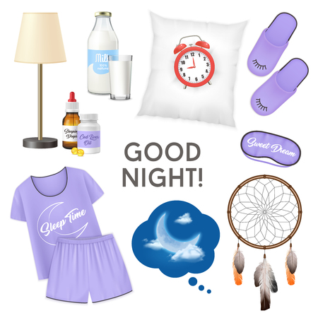 Good night realistic design concept with alarm clock on pillow glass of milk pajamas slippers isolated icons set vector illustration